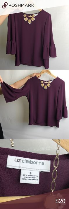 Plum drape sleeve blouse 💕 Great work top! Super cute top! Liz Claiborne. Worn once. Like new!  Looks cute with a half tuck and ankle pants. Flowy fabric.   Size small.  Color: Deep purple / Plum   See necklace in my closet— I'm open to a special bundle price! 👌🏼  24 inched top to bottom.  17 inches from shoulder seem to end of sleeve 20 inches wide Liz Claiborne Tops Blouses