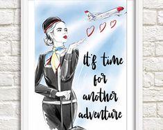Flight attendant art   Etsy
