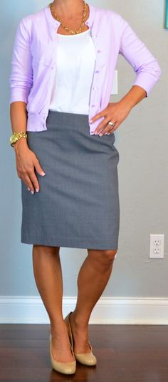 Outfit Posts: outfit post: purple/lilac cardigan, grey pencil skirt, nude wedges