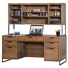 wire brushed credenza with hutch modern and industrial look for your office amazoncom furniture 62quot industrial wood