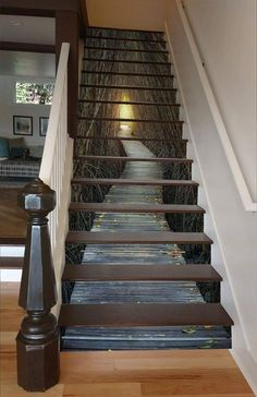 Bare Trees Wood Path 1557 Stair Risers - Decoration For Home Stairway Art, Stairway To Heaven, Modern Staircase, Staircase Design, Staircase Ideas, Staircase Pictures, Staircase Remodel, Wood Staircase, Escalier Art