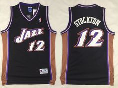 ed23da7e4 Utah Jazz #12 Stockton Black Men 2017 New Logo NBA Adidas Jersey John  Stockton,