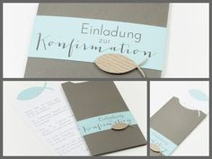 leine-design: Confirmation invitation in an envelope – New Ideas – Invitation 2020 Invitation Design, Invitation Cards, Diy And Crafts, Paper Crafts, Some Cards, Decoration Table, Stamping Up, Diy Cards, Communion