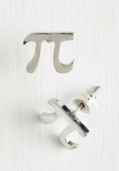 Cutie Pi Earrings in Silver - Silver, Solid, Quirky, Minimal, Nifty Nerd, Silver, Exclusives, Variation