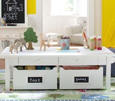 Carolina Grow with You Craft Table #PotteryBarnKids -- table legs change height to accommodate growing kids!