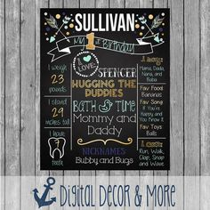 1st Birthday Navy Mint and Gold Tribal Arrows Chalkboard Birthday Poster | Boy Birthday Stat Poster | Birthday Poster Sign | Digital File
