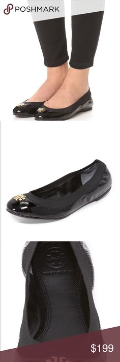 Tory Burch Jolie Ballet Flat LA sheep/soft/elastic Tory Burch's black Jolie ballet flats are perfect for round-the-clock wear. Crafted from smooth leather, this slip-on pair boasts a patent cap toe, elasticated topline and the designer's unmistakeable gold-toned double-T hardware. For hint of femininity, style yours with a camisole top and full skirt. Tory Burch Shoes Flats & Loafers