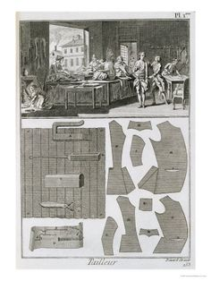"""Diderot Tailor's pattern layout with illustration depicting """"table monkeys"""" and apprentices at work in a tailor's shop."""