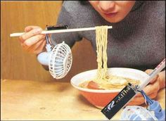 """The """"Noodle Cooling Fan"""" because blowing on your noodles is so passe."""