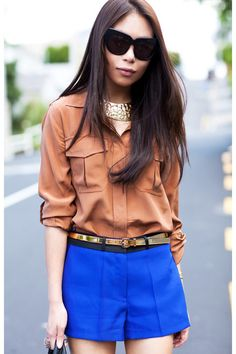 Bronze Country Road shirt, cobalt blue River Island shorts, dimpled collar necklace
