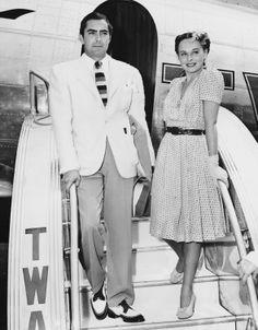 Tyrone Power & Paulette Goddard 40s fashion movie star photo print ad day dress shoes ladies women men men's suit tie white jacket trousers two tone shoes