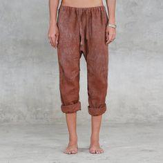 4dea5a62d0a6 COMMUNE Women s Linen Pants - Copper Drawstring Bucket Pant - Hand Painted  Linen Capris Pant - Heath