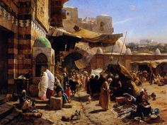 MarktJaffaGustavBauernfeind1887 - Israeli History/The Zionist Movement - Painting of Jaffa (south of modern Tel Aviv) in 1887