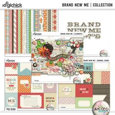 Brand New Me | Collection BY Akizo Designs. Includes  12 Patterned Papers, 8 Solids, 92 Elements, 16 3x4 Journal Cards, 4 6x4 Journal Cards, Complete Uppercase Alpha, and Printable PDF  files for the Journal Cards. Now on sale at 50% off!  Kit and coordinating products are also sold separately at 40% off each. Available at The Digichick