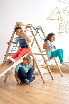 EZPlay Indoor Jungle Gym For Kids With 6 In 1 Play Features: Rope Ladder, Gymnastic Rings, Swing And Slide, Wooden Ladders. Perfect Gift For Toddlers And Preschoolers! Toddler Jungle Gym, Indoor Jungle Gym, Toddler Slide, Toddler Bed, Indoor Playset, Kids Indoor Playground, Kids Indoor Gym, Indoor Swing, Playground Design