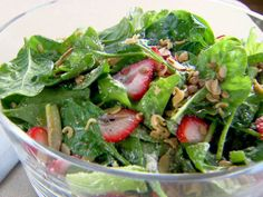 Trisha Yearwood strawberry spinach salad with crunch http://www.foodnetwork.com/recipes/trisha-yearwood/strawberry-salad-recipe/index.html