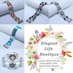 Creations for this week! Handmade Women's Beaded Bracelet Watch Bands Compatible for Apple Smartwatch (38mm & 42mm) - made in the USA by www.elegantlifeboutique.com Please visit my website, Etsy shop or my new eBay store @ElegantLifeBoutique #applewatch #fashionideas #etsy #eBay #jewelry #fitness #beauty