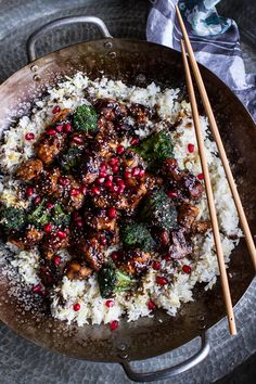 ~~Pomegranate Sesame Chicken with Ginger Rice Pilaf recipe | A simple chicken with the amazing flavor combo of pomegranate, sesame and garlic. Wok to table in 40 minutes! | half baked harvest~~