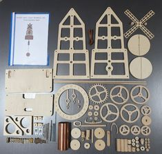 Wooden Clock Kits, Wall Clock Kits, Windmill Clock, Wooden Gears, Kit Diy, Steampunk Clock, Pendulum Clock, Wooden Walls, Puzzle