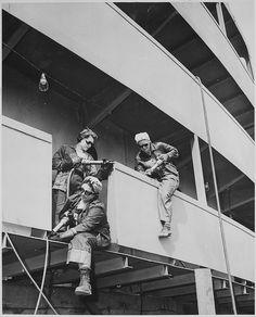 """""""Chippers."""" Women War Workers of Marinship Corp, 1942. - WWII propaganda photo, women war workers, shipyard, shipbuilding"""