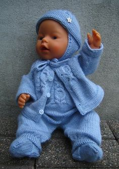 pattern in Norwegian Baby Born Clothes, Boy Doll Clothes, Knitting Dolls Clothes, Crochet Baby Clothes, Knitted Dolls, Doll Clothes Patterns, Child Doll, Girl Dolls, Tiny Tears Doll