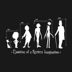 Tim Burton - Evolution of a Restless Imagination Tim Burton Style, Tim Burton Art, Tim Burton Films, Burton Burton, Tim Burton Johnny Depp, Tim Burton Characters, Johny Depp, Evolution T Shirt, The Lone Ranger