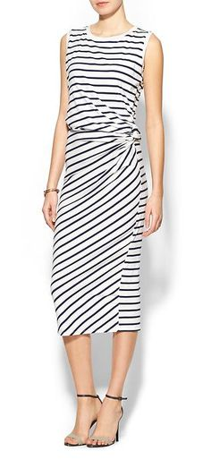 striped ruched dress