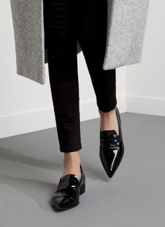 Black patent pointy toe loafers...I would live in these right up to mid spring!