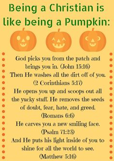 how is being a christian like a pumpkin poem Bible Object Lessons, Bible Lessons For Kids, Bible For Kids, Sunday School Lessons, Sunday School Crafts, Pumpkin Printable, Free Printable, Pumpkin Poem, Christian Halloween