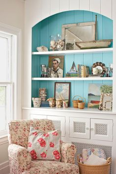Inviting Home Inspired; Beach house with a pop of color