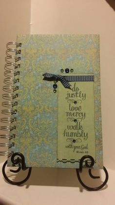 Check out this item in my Etsy shop https://www.etsy.com/listing/217633559/prayer-journal-with-micah-68-hand