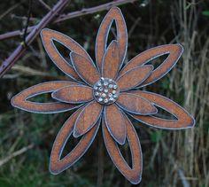 Rusted Flower Garden Art  Garden Stake Decor by metalgardenart,