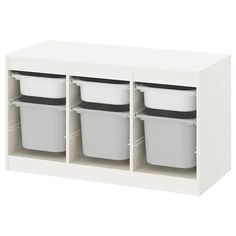 IKEA TROFAST Storage combination with boxes White/white cm A playful and sturdy storage series for storing and organising toys, sitting, playing. Ikea Trofast Storage, Wall Storage, Toy Storage, Storage Boxes, Kids Storage Furniture, Home Furniture, Furniture Removal, Drawer Rails, Crates