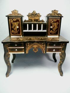 Exquisite 19th c. Boulle Desk miniature