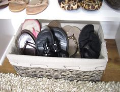 """""""The idea for the flip flop basket came from Cote de Texas (Joni's friends' over the top, fun Texan closets)."""""""