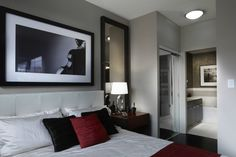 A second bedroom for friends to stay after a night on the town Two Bedroom, Condominium, Oversized Mirror, Night, Friends, Furniture, Home Decor, Amigos, Decoration Home