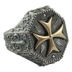 Biker-Silver-Gold-10-K-Maltese-Knights-Templar-Cross-Men-039-s-Ring-Masonic-US-Sizes
