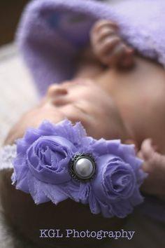 Lavender flower lace headband- baby headband, toddler headband, childrens headband-photo prop, Shabby Chic. $8.99, via Etsy.