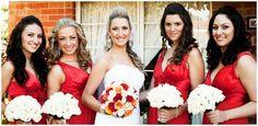 Bridal makeup. Red bridesmaids dresses   www.sparrowmakeup.com.au