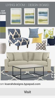 Gray and Blue Living Room. Gray and Blue Living Room. 11 Most attractive Grey and Blue Living Room Ideas that You Navy Living Rooms, Living Room Redo, Living Room Colors, Home Living Room, Living Room Designs, Bedroom Colors, Blue Yellow Living Room, Design Bedroom, Dining Rooms