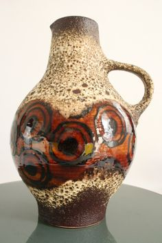 fat lava pottery | large d b fat lava jug large d b jug with crusty beige brown lava and ...