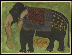 """gazophylacium:""""The elephant Khushi Khan north India, c. (Khushi Khan means - or is - 'Lord of Happiness')"""" Indian Elephant, Elephant Art, Indian Paintings, Animal Paintings, Mughal Paintings, Indian Prints, Indian Art, Elephant Illustration, Illustration Art"""