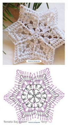 Crochet Snowflake Pattern, Crochet Motif Patterns, Crochet Stars, Christmas Crochet Patterns, Holiday Crochet, Crochet Snowflakes, Granny Square Crochet Pattern, Crochet Diagram, Christmas Knitting