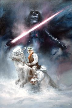 Original Painting by Roger Kastel Featuring Luke Skywalker on Tauntaun and Darth - Star Wars Paint - Ideas of Star Wars Paint - Original Painting by Roger Kastel Featuring Luke Skywalker on Tauntaun and Darth Vader Star Wars Fan Art, Star Trek, Ralph Mcquarrie, Luke Skywalker, Chewbacca, Star Wars Painting, Star Wars Images, Star Wars Wallpaper, Star Wars Gifts