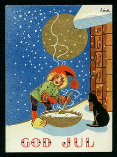 ˇˇ Old Christmas, Vintage Cards, Gnomes, Postcards, Roots, Scandinavian, Heaven, Movie Posters, Cats