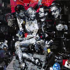"Collage Artwork: Collage Art by Derek Gores ""Star Quality"" collage on canvas 48"" x 48"" www.derekgores.com"