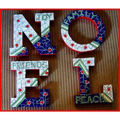 NOEL Christmas Mantel or Wall Mosaic Decor Original Ooak One of a Kind ($58) ❤ liked on Polyvore featuring home, home decor, wall art, quote wall art, textured wall art, word wall art, mosaic wall art and handmade wall art