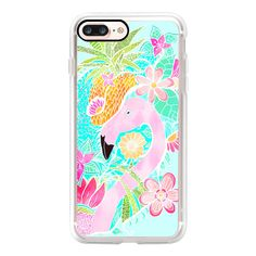 Tropical summer watercolor flamingo floral pineapple by Girly Trend -... (€46) ❤ liked on Polyvore featuring accessories, tech accessories, iphone case, iphone cases, apple iphone case, floral iphone case and iphone cover case