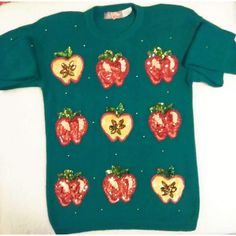 Women's Vintage Apple a Day Sequin Sweater