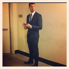 "DgFeuerriegel Instagram  ""Pretending"" not to pose :p … Big thank you to talented @AFrancoDesigns for the suit :)"
